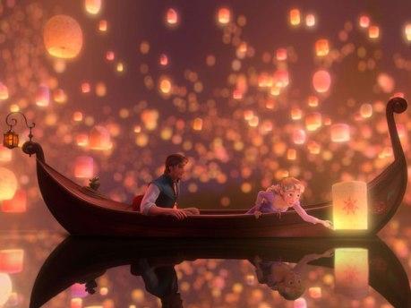 Uma das cenas do filme Enrolados que traz as lanternas.